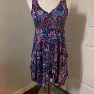 Blue coral purple paisley dress boho ethnic